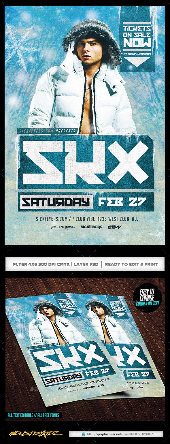 Winter Dj Flyer Template  - Clubs & Parties Events