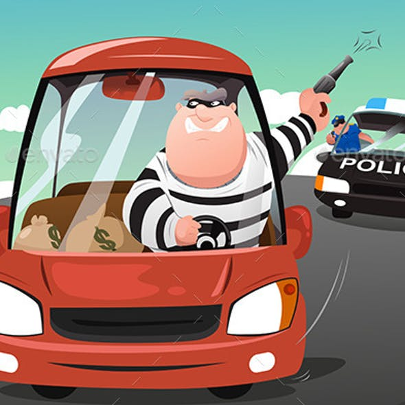 Police Chasing Criminals