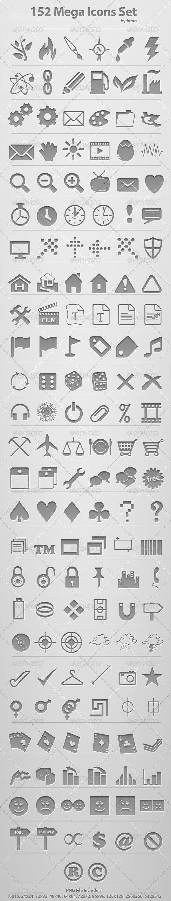 152 Mega Icons Set - Web Icons