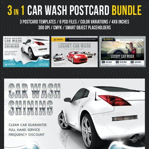 3 in 1 Car Wash Postcard Template Bundle