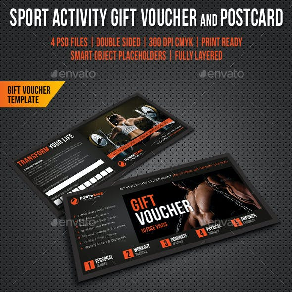 Sport Activity Gift Voucher and Postcard V03
