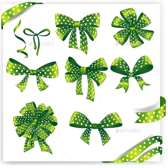 Set of Green Polka Dot Gift Bows with Ribbons