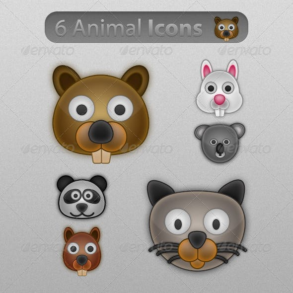 6 Cute & Glossy Animal Icons