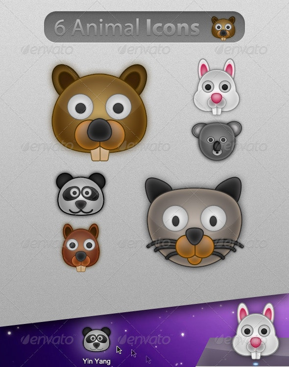 6 Cute & Glossy Animal Icons