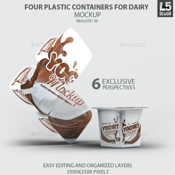 Four Plastic Containers for Dairy Mock-Up