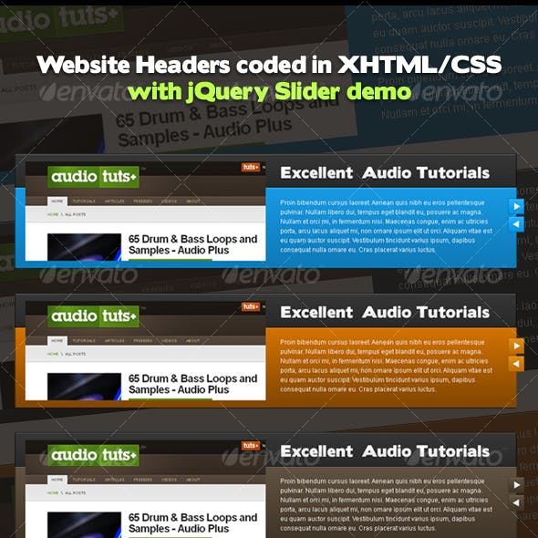 Header Designs | coded XHTML/CSS with jQuery