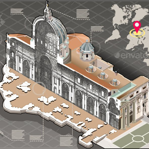 Isometric Infographic of Saint Peter in Rome
