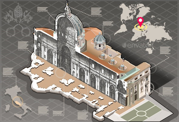 Isometric Infographic of Saint Peter in Rome - Buildings Objects