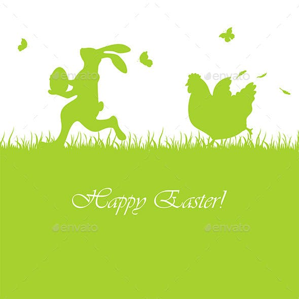 Easter Background with Rabbit and Hen