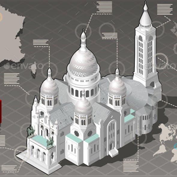 Isometric Infographic Sacre Coeur Montmartre Paris