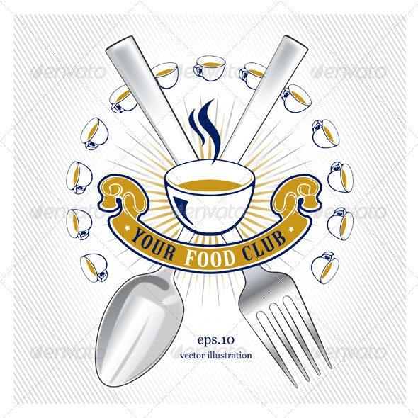 Spoon Fork Emblem - Food Objects