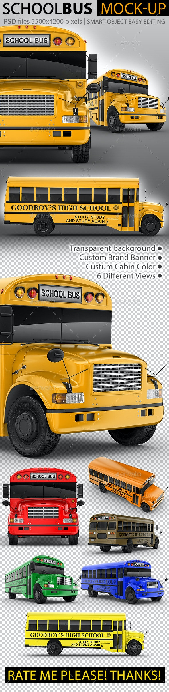 School Bus Mock-Up. 3d Schoolbus - Vehicle Wraps Print