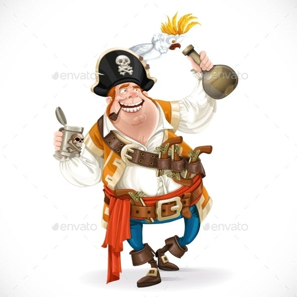 Pirate with a Bottle of Rum