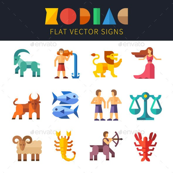 Flat Zodiac Signs