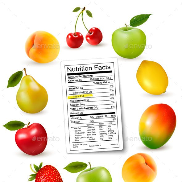 Fresh Fruit with a Nutrition Facts Label