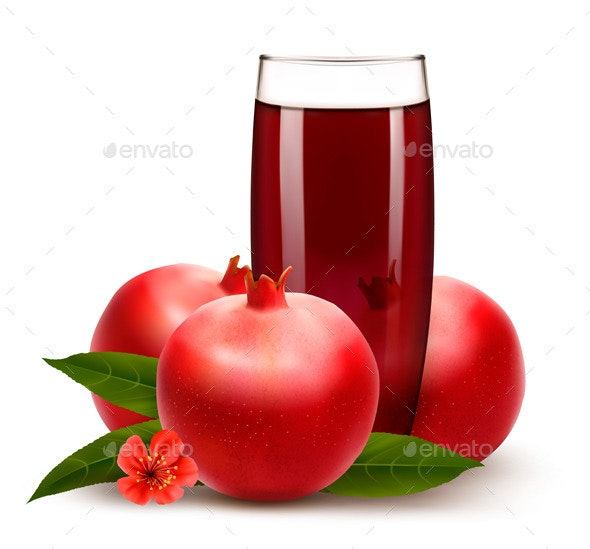 Glass of Pomegranate Juice  - Food Objects