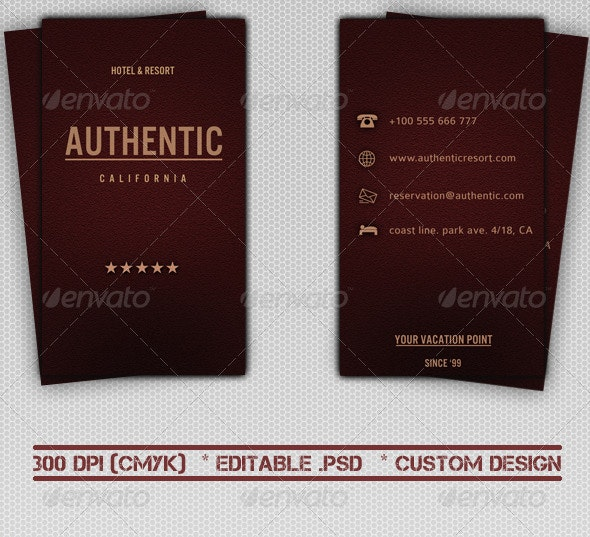 Hotel & Resort Business Card - Industry Specific Business Cards