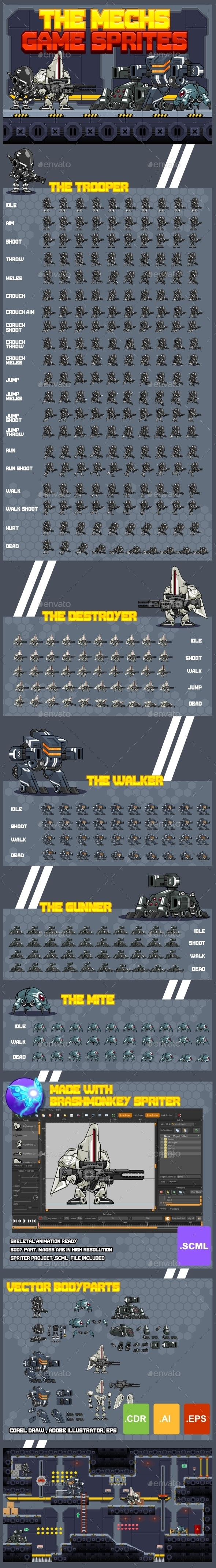 The Mechs - Game Sprites - Sprites Game Assets