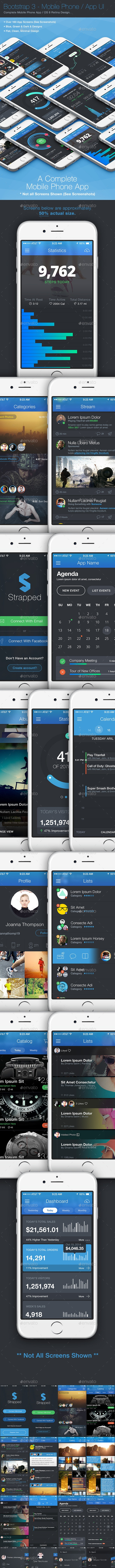 Strapped App / Phone / Mobile UI 3 - User Interfaces Web Elements