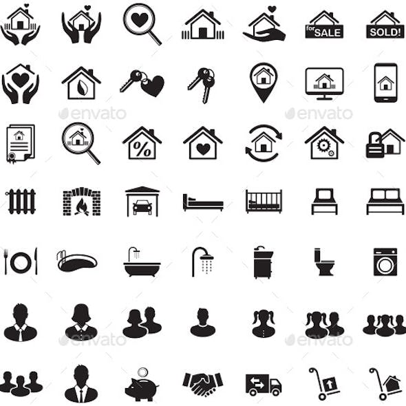 Real Estate Icon Set, Family Symbols, Vector