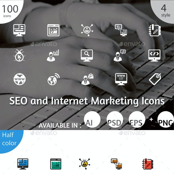 100 SEO and Internet Marketing Icons