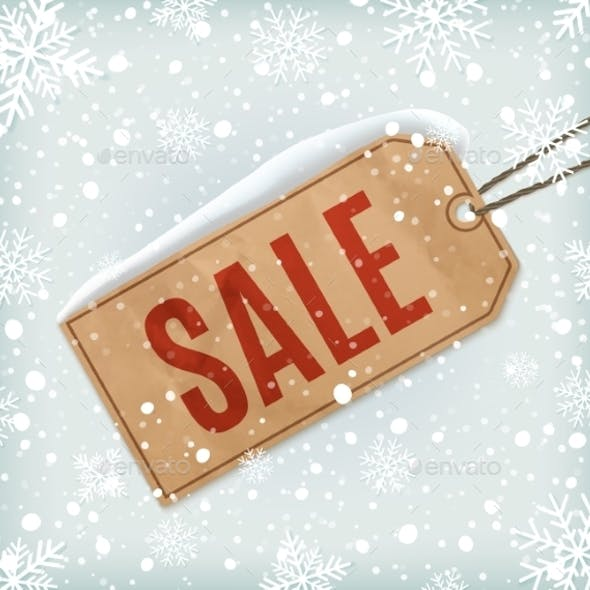 Sale Paper Tag with Snowflakes