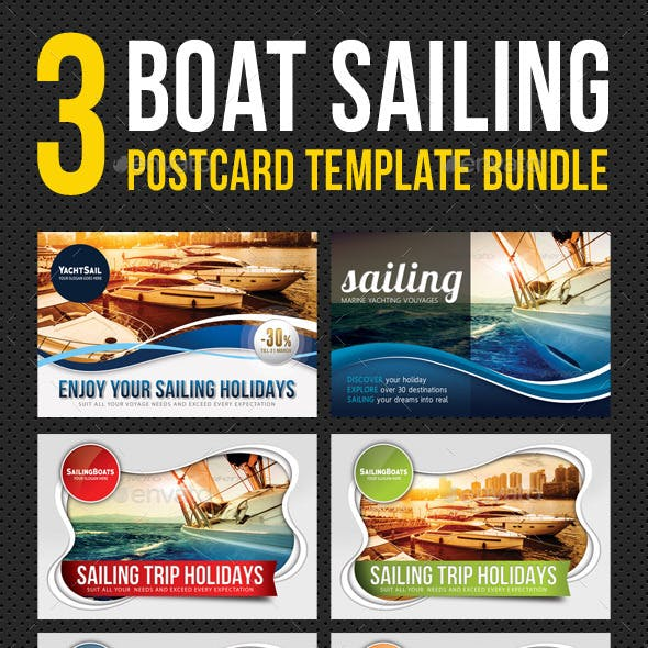 3 in 1 Boat Sailing Postcard Template Bundle