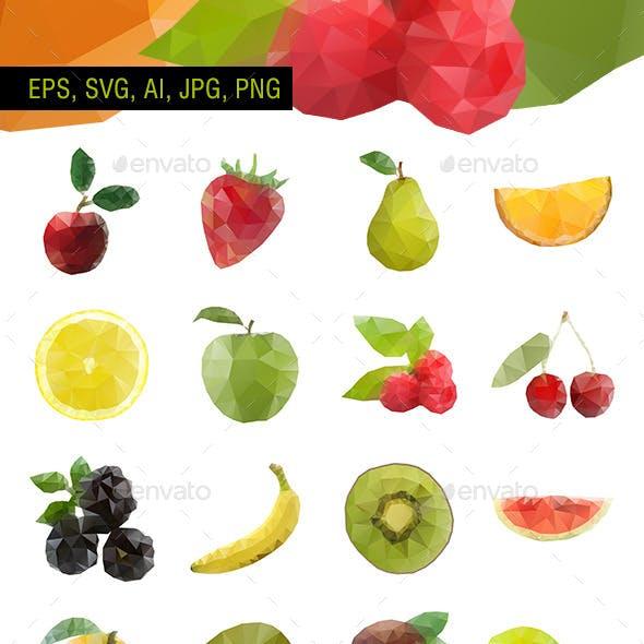 Polygonal Vector Fruit - Set of 20
