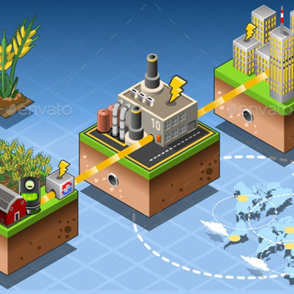 Isometric Infographic Biomass Source Renewable