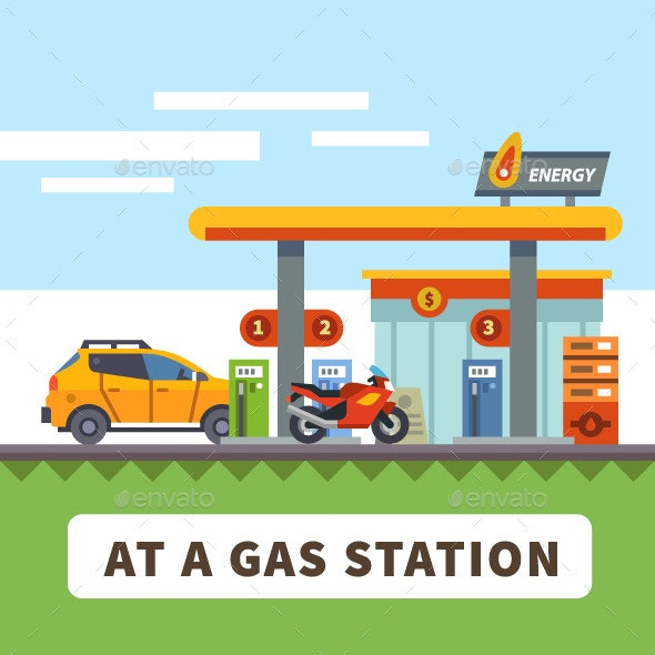 Car and Motorcycle at a Gas Station - Industries Business