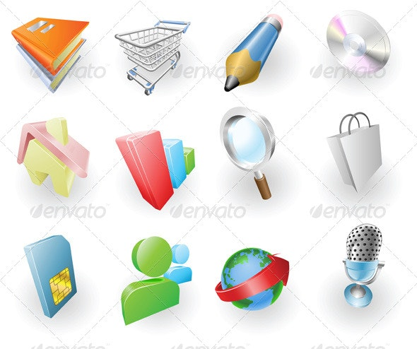 Dynamic Colour Web and Application Icon Set - Software Icons