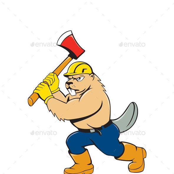 Beaver Lumberjack Wielding Ax Cartoon