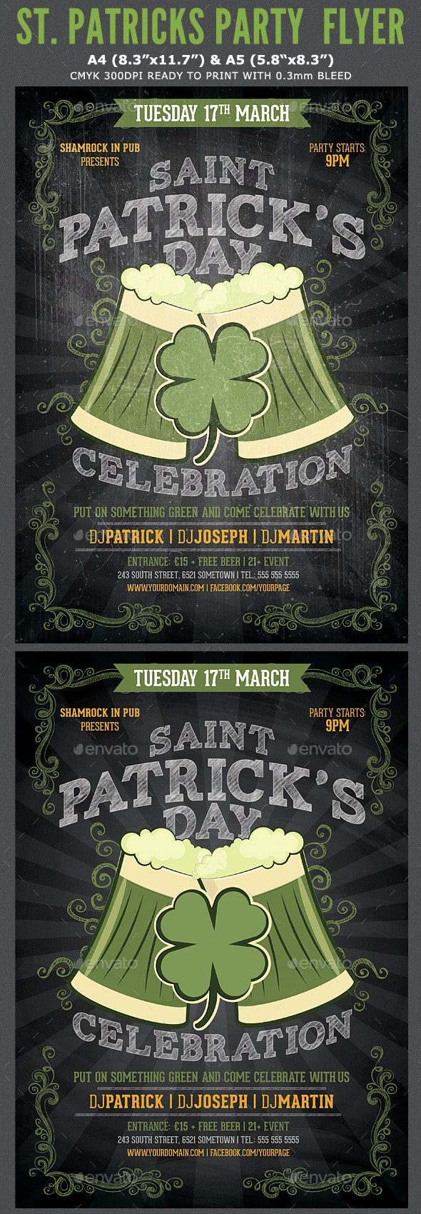 St. Patricks Flyer Template - Clubs & Parties Events