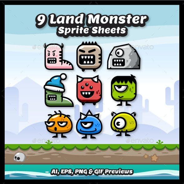 9 Enemy Land Monster Spritesheets