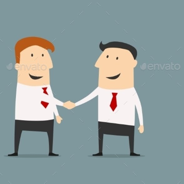 Cartooned Businessmen Shaking Hands