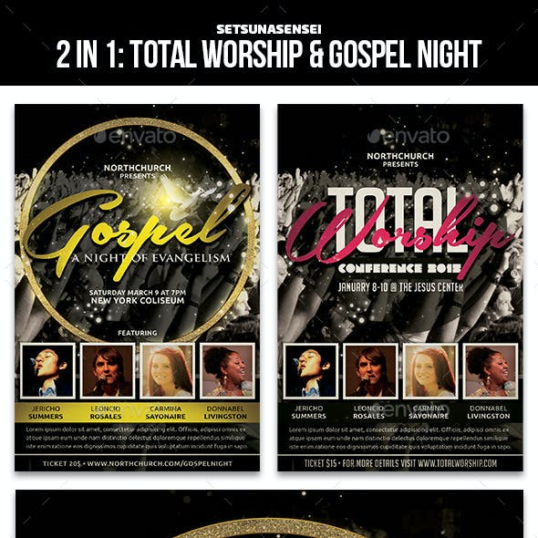 2 in 1 Church Flyer: Total Worship and Gospel Night