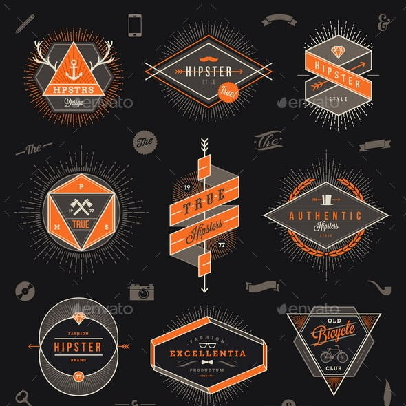 Set of Hipster Emblems, Labels and Sign