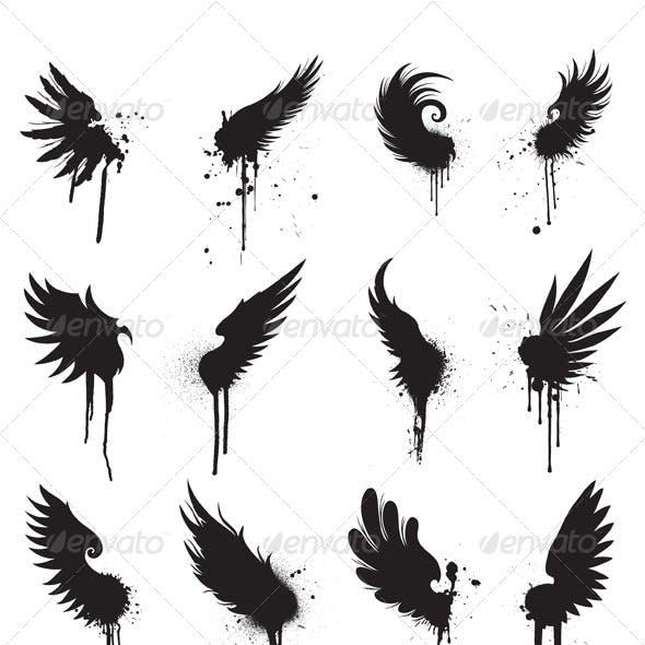 Grunge wings design