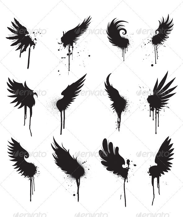 Grunge wings design - Decorative Symbols Decorative