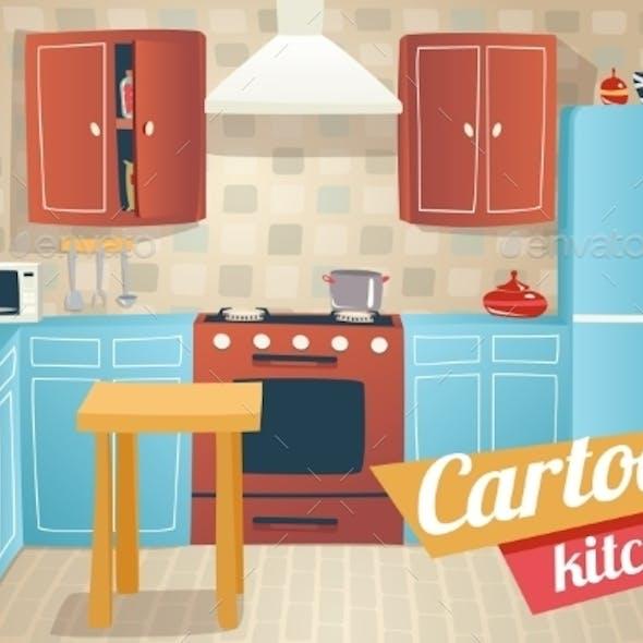 Kitchen Furniture Accessories Interior Cartoon Apa