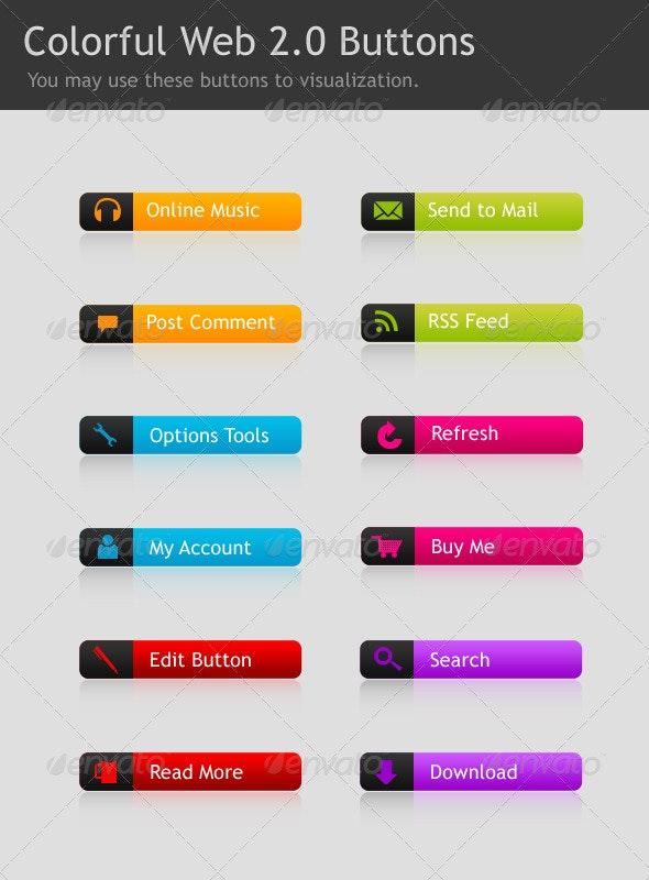 Colorful Web 2.0 Buttons - Buttons Web Elements