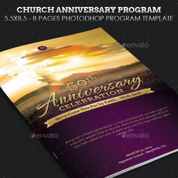 Church Anniversary Service Program Template