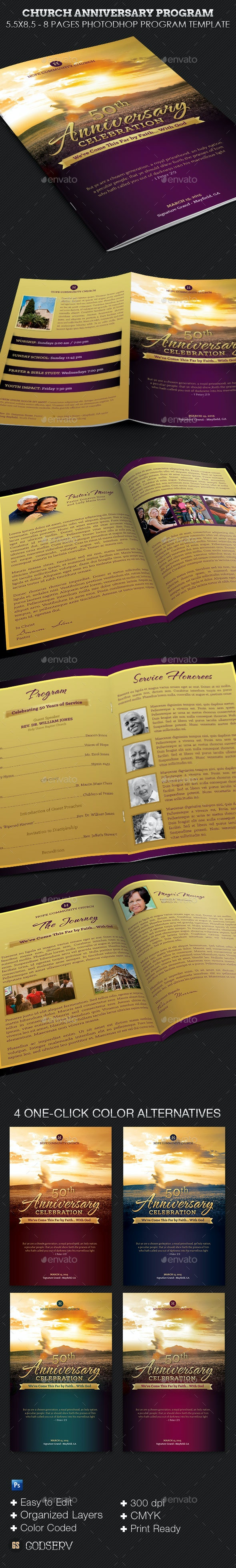 Church Anniversary Service Program Template - Informational Brochures