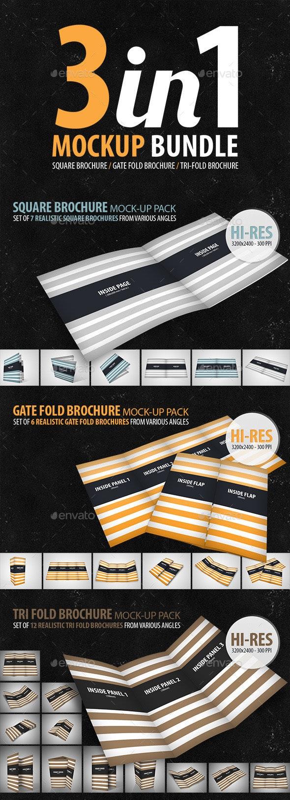 3in1 Brochure Mock-Up Bundle - Brochures Print