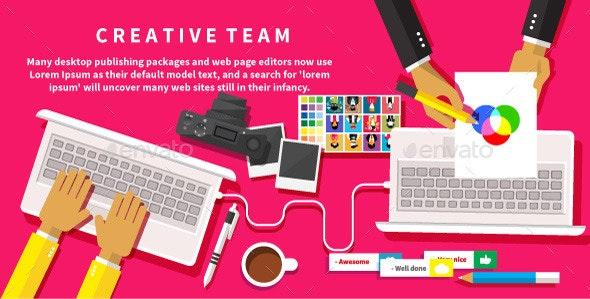Creative Team Working at a Desk - Conceptual Vectors