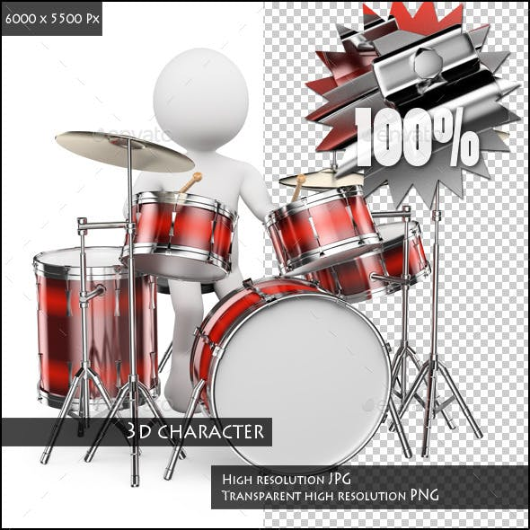3D White People. Musician Playing Drums