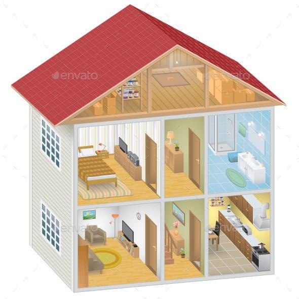 Isometric House Interior