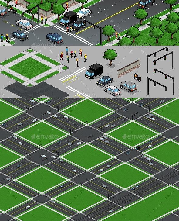 Pixel Art Design Elements - Scenes Illustrations