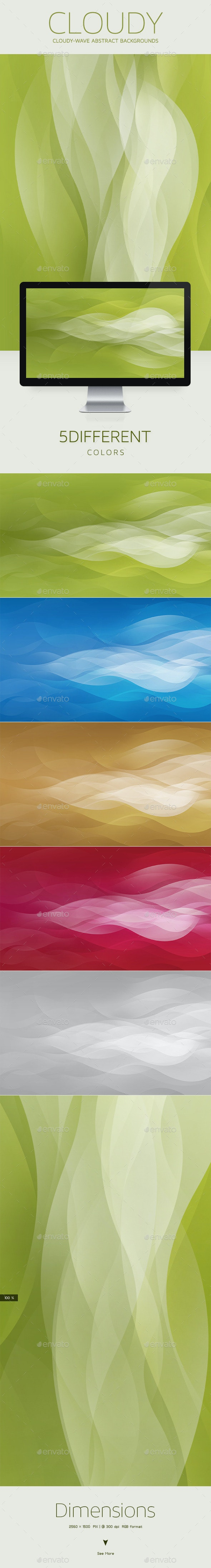 Cloudy-Wave Background Horizontal and Vertical - Abstract Backgrounds