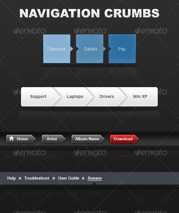 4 Navigation Crumbs - Sliders & Features Web Elements